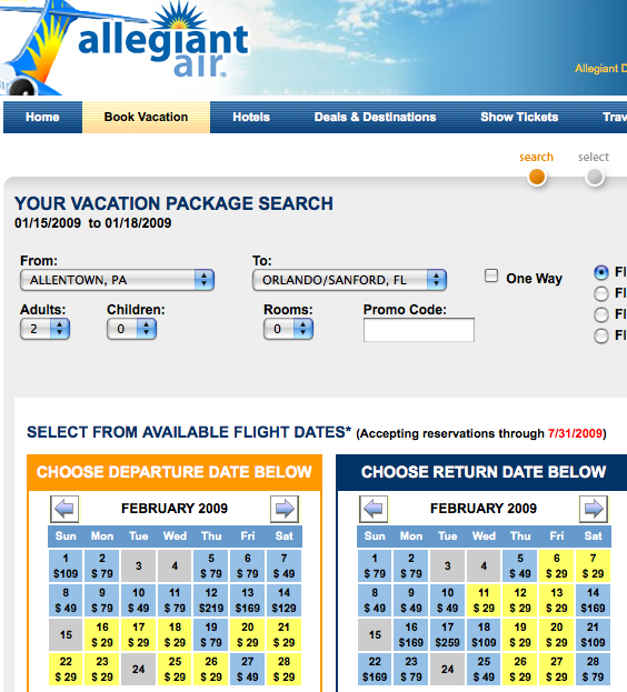 Unadvertised Allegiant Sale To From The Warmth Blog