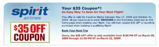 Current Spirit Airlines Promo Codes. There are currently no Spirit Airlines promo codes available. How do I use a Spirit Airlines promo code on Skyscanner Step 1: Find your ideal flight using the flight search box above or by selecting one of the sale routes in the table below. Step 2: Select the flight and continue on to Spirit Airline's site to book.