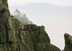 Scaling the steps of Skellig Michael, Ireland (Photo: Josh Roberts)