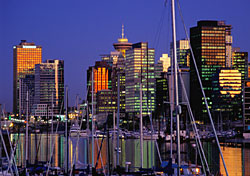 Skyline of Vancouver, Canada at Twilight (Photo: Donovan Reese)