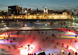 Skating at the Bassin Bonsecours in Montreal's Old Port (Photo: Tourisme Montreal, Stephan Poulin)