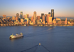 Seattle skyline, flanked by Puget Sound and the Cascade Mountains (Photo: Tim Thompson)
