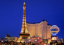 "<a href=""http://www.parislasvegas.com"" target=""_blank"">Paris Las Vegas</a> works its theme harder than most other casinos, boasting a perfect half-scale replica of the Eiffel Tower, replicas of the Arc de Triomphe, the Paris Opera House, the Hôtel de Ville, and the Louvre, and five French restaurants including a creperie. The hotel staff even greets guests with ""bonjour."" (Photo: Harrah's Entertainment)"