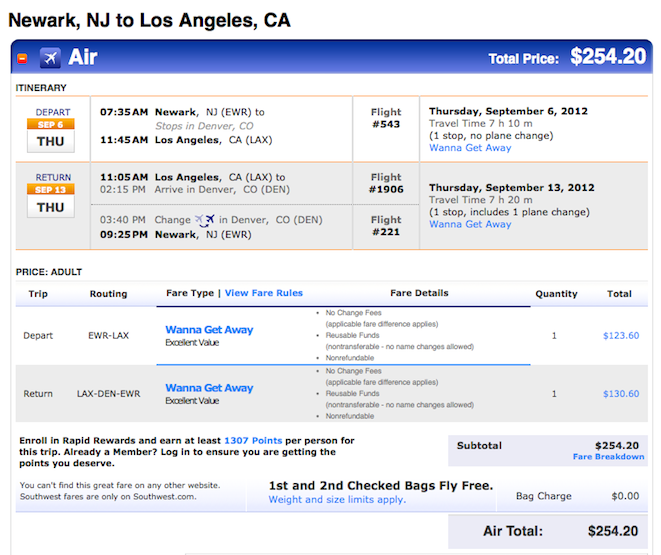 Fare of the Day: Newark to Los Angeles $254 RT including all taxes, Fall Travel