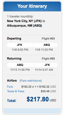 Fare of the Day: NYC to Albuquerque $218 round-trip, nonstop, incl. all taxes
