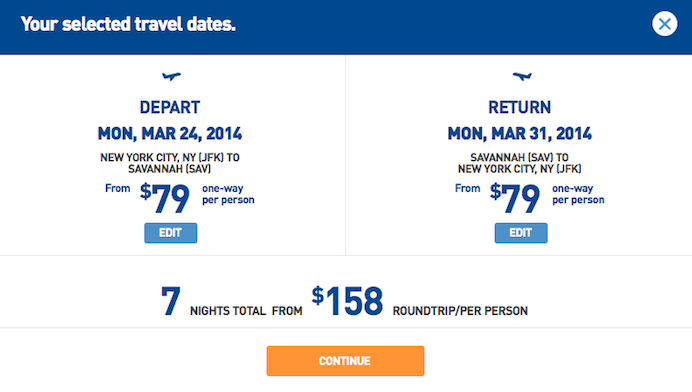 Fare of the Day: New York to Savannah $158 round-trip, nonstop, incl. all taxes