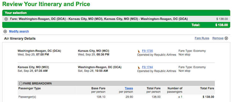 Fare of the Day: Washington DC to Kansas City $138 round-trip, incl. all taxes