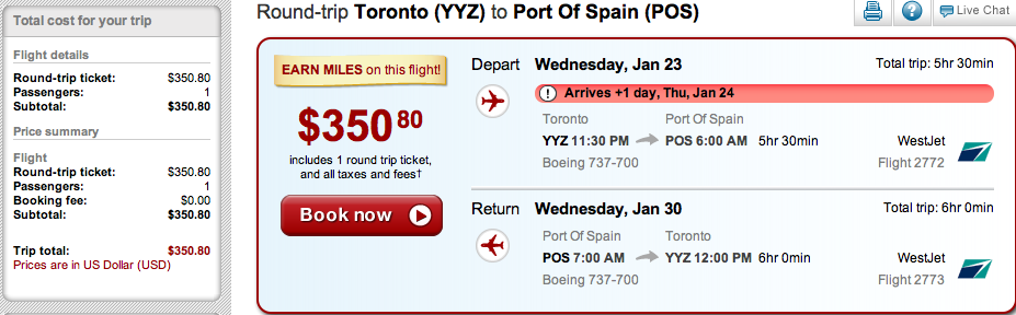 Fare of the Day: Toronto to Port of Spain, Trinidad & Tobago $351 USD RT, nonstop including taxes
