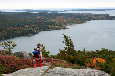 Penny and Ethan hiking in Acadia National Park