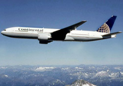 Continental plane flying over mountains (Photo: Continental)