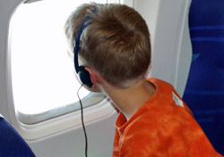 Child on airplane