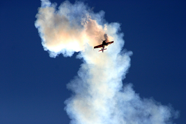 Small Prop Plane Spinning in Cloud of Smoke (Photo: Shutterstock)