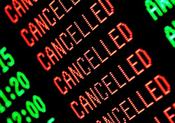 Airport - Departure screen full of canceled flights (Photo: iStockPh