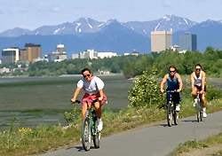 Biking the Coastal Trail, Anchorage, Alaska (Photo: Grant Klotz/Anchorage Convention and Visitors Bureau)