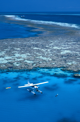 Seaplane on Great Barrier Reef, Australia