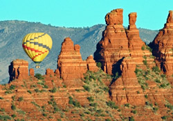 Hot-air balloon floating over Sedona, Arizona (Photo: S. Greg Panosian/iStockPhoto)