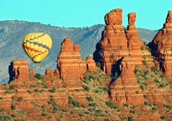 Hot-air balloon floating over Sedona, Arizona (Photo: S. Greg Panosian/iStockPhoto)