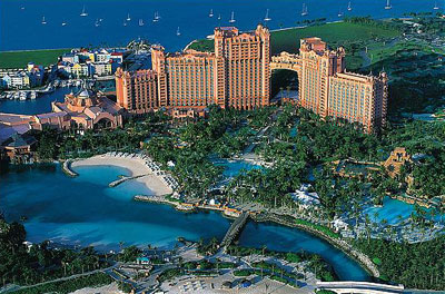 Aerial of Royal Towers and Harborside Resort, Atlantis, Bahamas