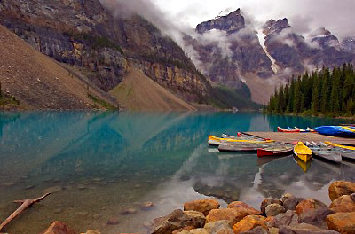 Canoes on lake Moraine in Banff National Park, Alberta