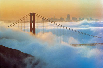 San Francisco - Golden Gate Bridge under foggy blanket