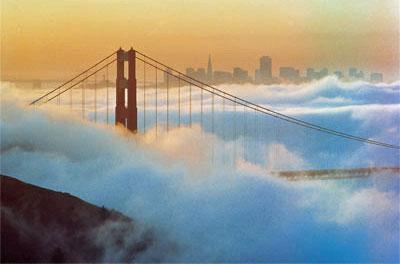 San Francisco - Golden Gate Bridge under foggy blanket