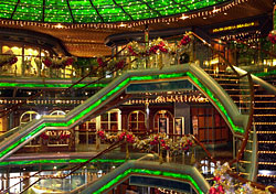 Ship's atrium decorated for the holidays (Photo: Carnival)