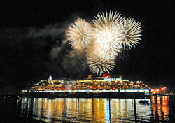 Queen Victoria with fireworks (Photo: Cunard)