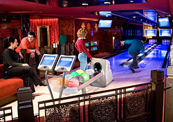 Indoor activities are as plentiful as outdoor ones. Norwegian made a big splash with the first bowling alley at sea on the Norwegian Pearl. The ship's rocking doesn't affect the bowling balls much, but you can blame your gutterballs on it anyway.  Other incredible activities include ice skating on Royal Caribbean's indoor rinks and simulated race-car driving on the Costa Concordia. (Photo: Norwegian Cruise Line)