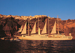 Wind Spirit in Santorini (Photo: Windstar)