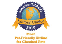 Editor's Choice Badge: Most Pet-Friendly Airline/Checked Pets