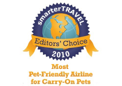 Editor's Choice Badge: Most Pet-Friendly Airline/Carry-on Pets
