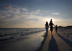 Family Walking against Sunset on the Beach (Photo: iStokcphoto/ShaneKato)
