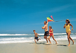 Daytona Beach has 23 miles of sandy seashore that's not only open all the time, but also completely free to pedestrians. And, with brand-new service from AirTran, Daytona Beach International Airport offers easy access to the beach. (Photo: Visit Florida)