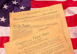 The U.S. flag and constitution
