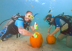 Divers at Guam's Underwater Pumpkin Carving Contest (Photo: Visit Guam)