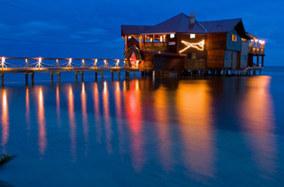 Roatan, Honduras - Restaurant over water
