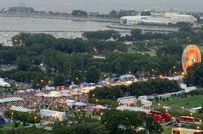 Aerial shot of Taste of Chicago