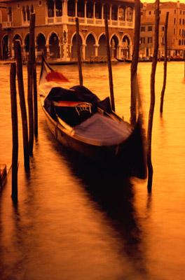 Gondola at Sunset, Venice, Italy