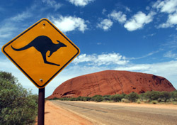 Australia: Kangaroo Crossing sign (Photo: iStockphoto/oversnap)