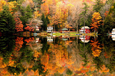 Fall foliage reflection on Hidden Lake