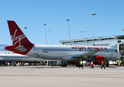Virgin America plane parked at the gate (Photo: Clark County Department of Aviation)