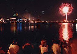 """If you want to avoid the crowds in D.C., Baltimore is a great alternative nearby. The <a href=""""http://www.bop.org/resources/up178.aspx"""" target=""""_blank"""">Inner Harbor</a> is a happening place to be for the Fourth, with street performers at the amphitheater during the day and a spectacular fireworks show accompanied by music at night. For a peaceful evening, take a <a href=""""http://www.harborcruises.com/4thjulymenu.htm"""" target=""""_blank"""">harbor cruise</a>, which provides a scenic view of the fireworks, along with a """"nautical buffet"""". (Photo: Jay Baker)"""