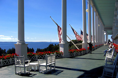 Grand Hotel porch, Makinac Island, Michigan