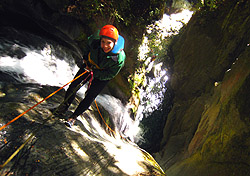 Molly abseiling in New Zealand (Photo: James Speirs, Deep Canyon)