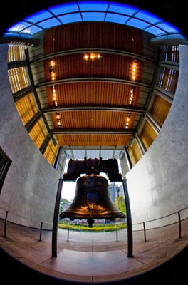Philadelphia, PA - Liberty Bell, fish-eye view