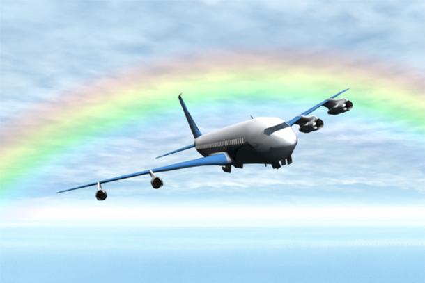Plane Flying Under Rainbow (Photo: Thinkstock/Hemera)