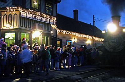 People waiting to board the Polar Express, Durango, Colorado
