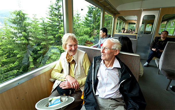 Two Senior Travelers on Train in Europe (Photo: Dominic Bonuccelli)