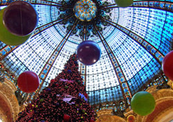 Rick Steves Galeries Lafayette - The spectacular stained-glass dome at the Galeries Lafayette department store is particularly festive during the holiday season. (Photo: Rick Steves)