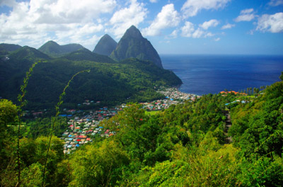 St. Lucia Pitons Mountains with Village